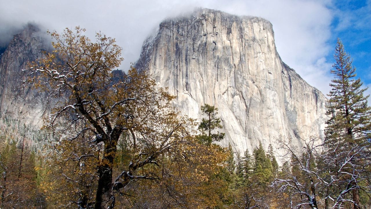 El Capitan, a granite monolith, dominates Yosemite valley.