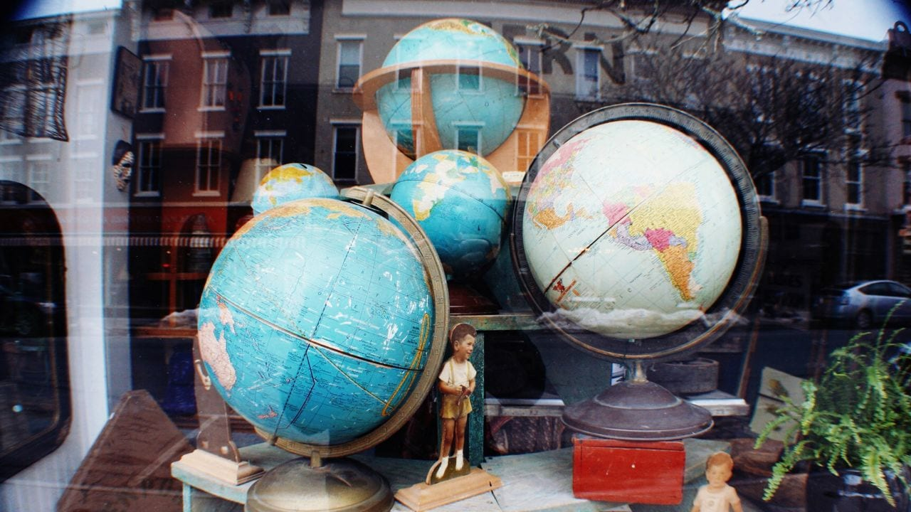 Globes are displayed at an antique shop in Hudson, N.Y.