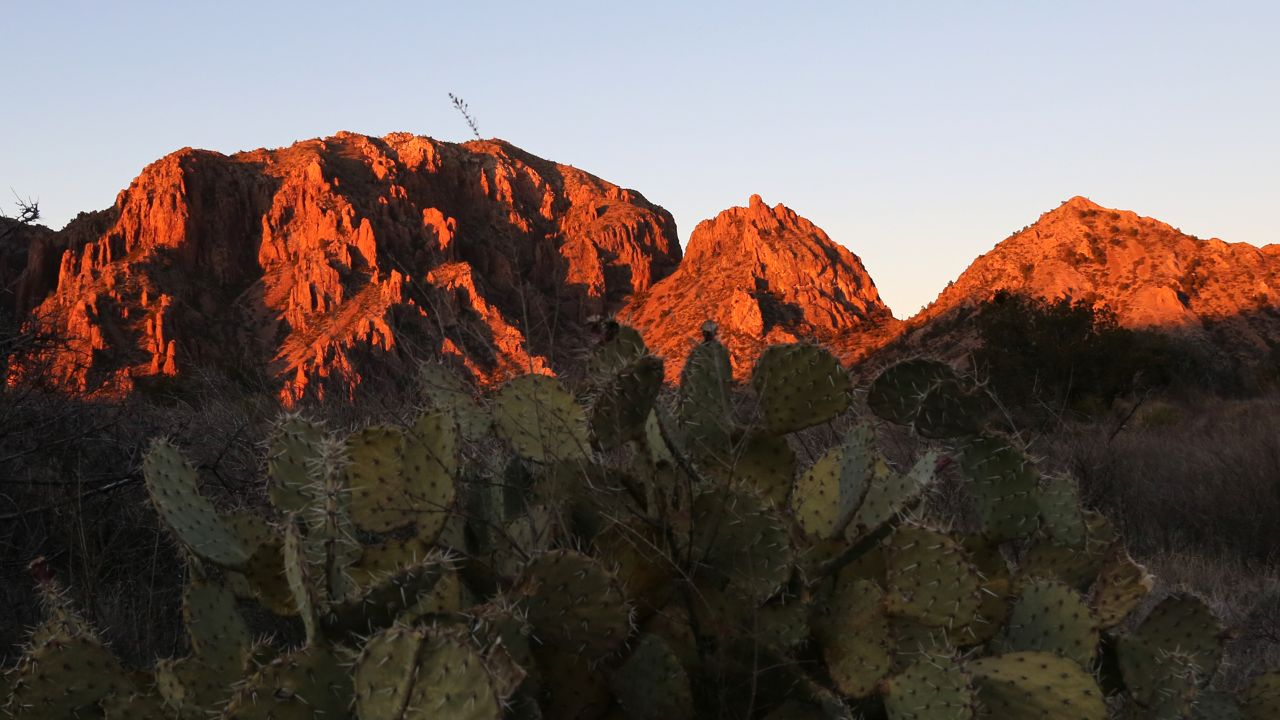 Chisos Mountains at sunset.