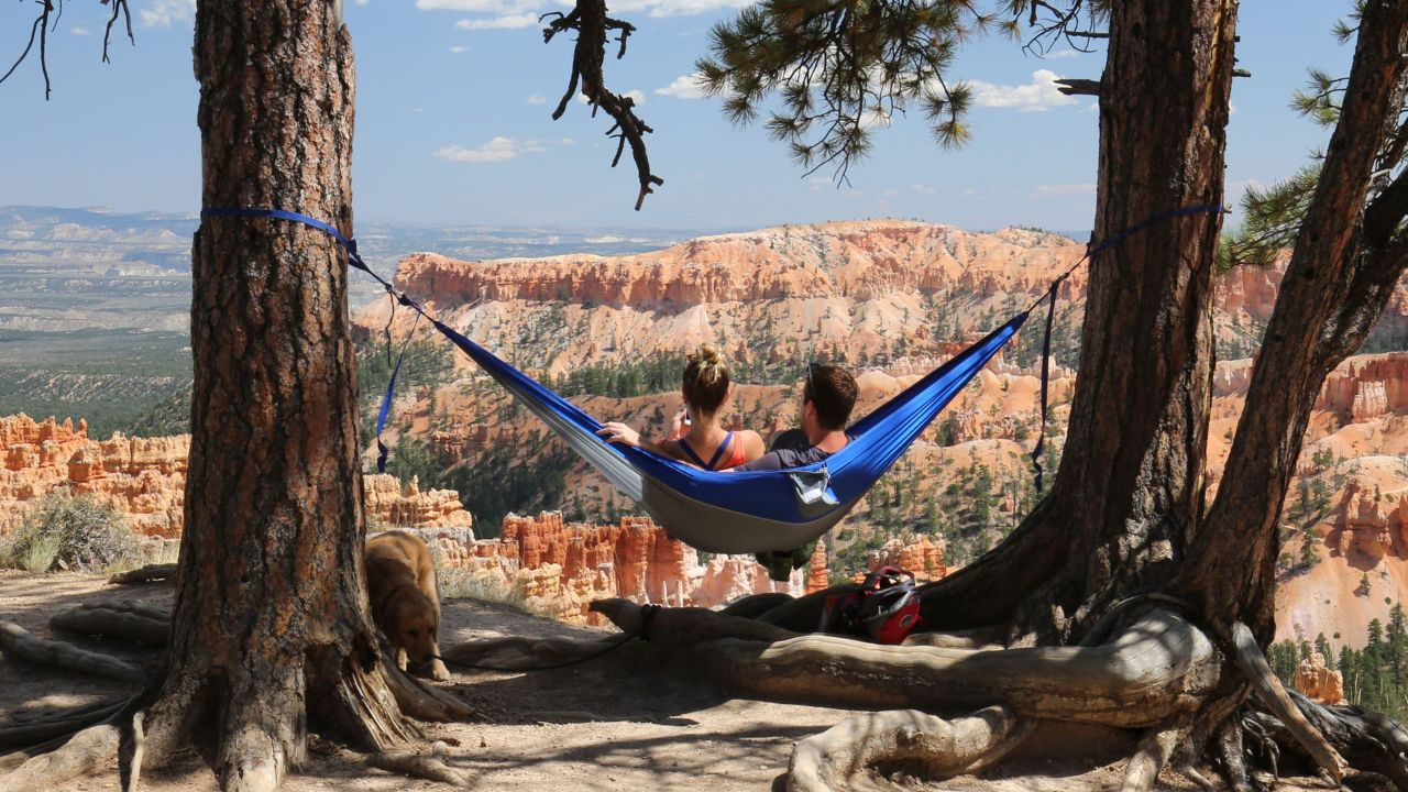 A couple relaxes at Bryce Canyon National Park.