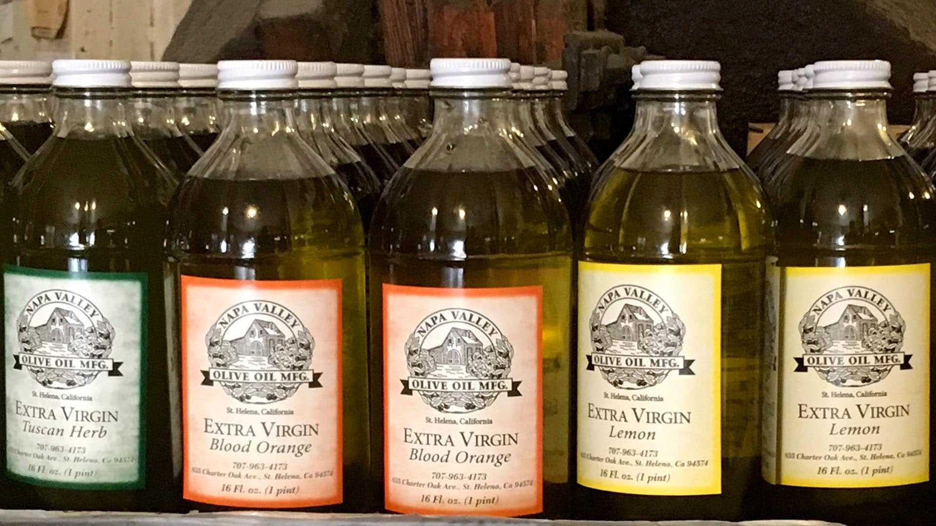 Napa Valley Olive Oil Manufacturing Company has a large selection of flavored olive oils.