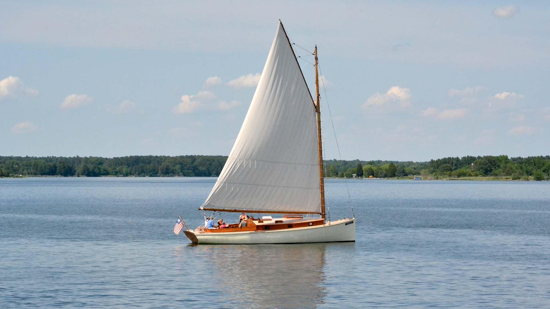 The Selina II, built in 1926, sails in Chesapeake Bay.