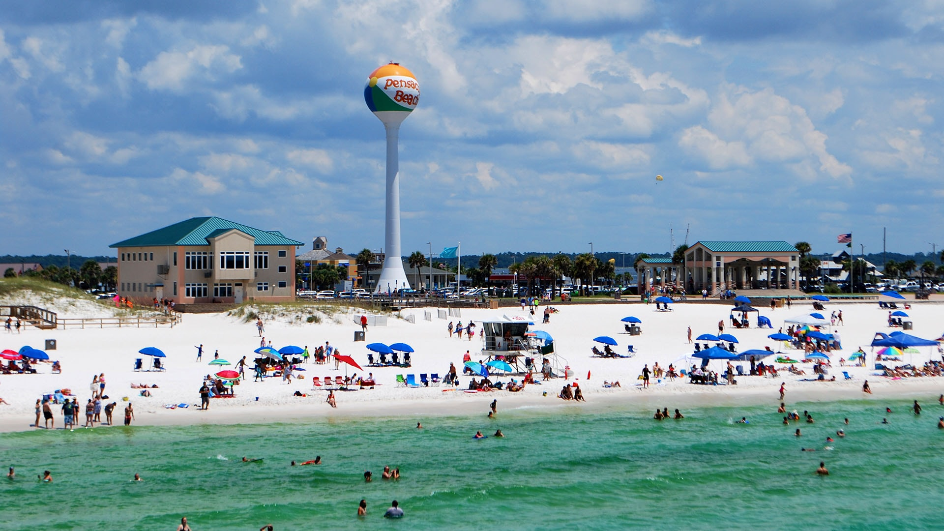 The beach ball water tower is a symbol of Pensacola Beach.