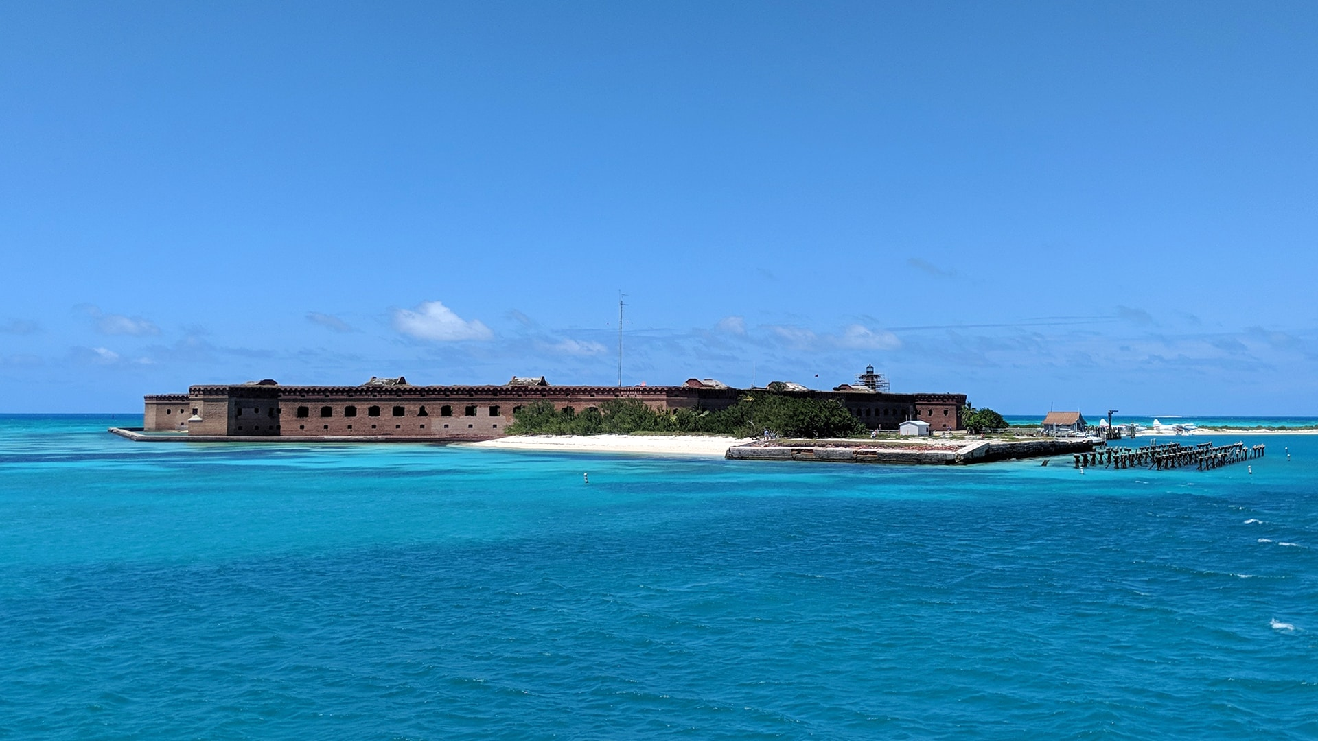 Dry Tortugas National Park includes Fort Jefferson, once used as a prison.