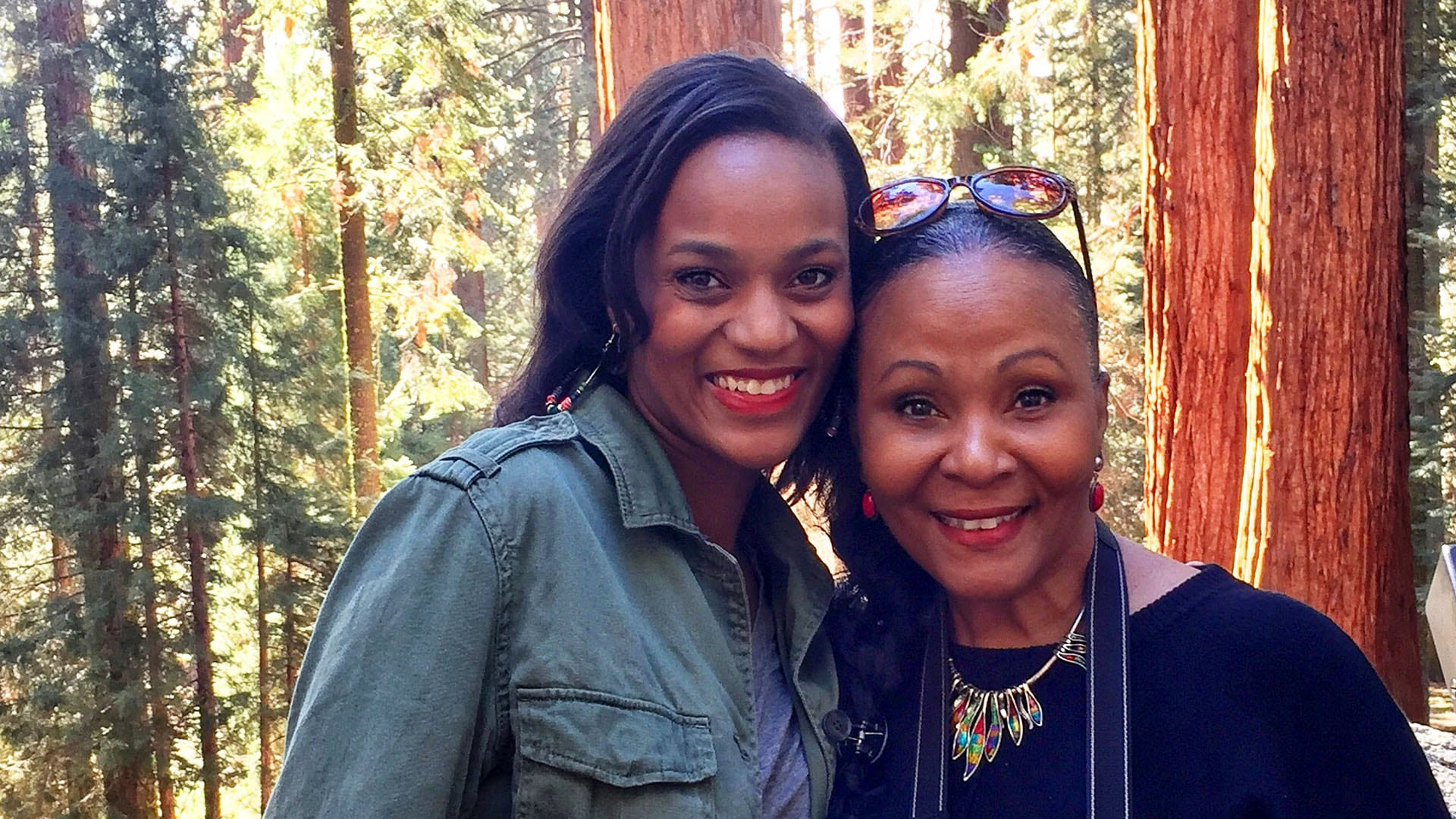 The author (left) and her mom, Yvette Jones, enjoy Sequoia National Park.