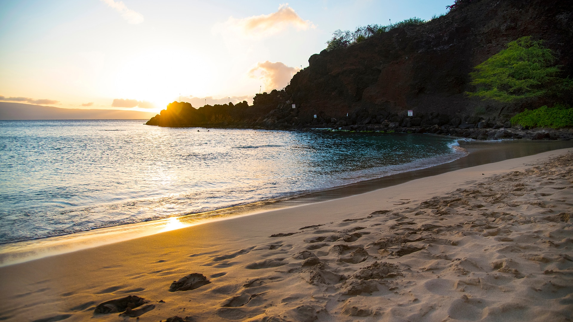 The sun sets along Ka'anapali Beach in West Maui.