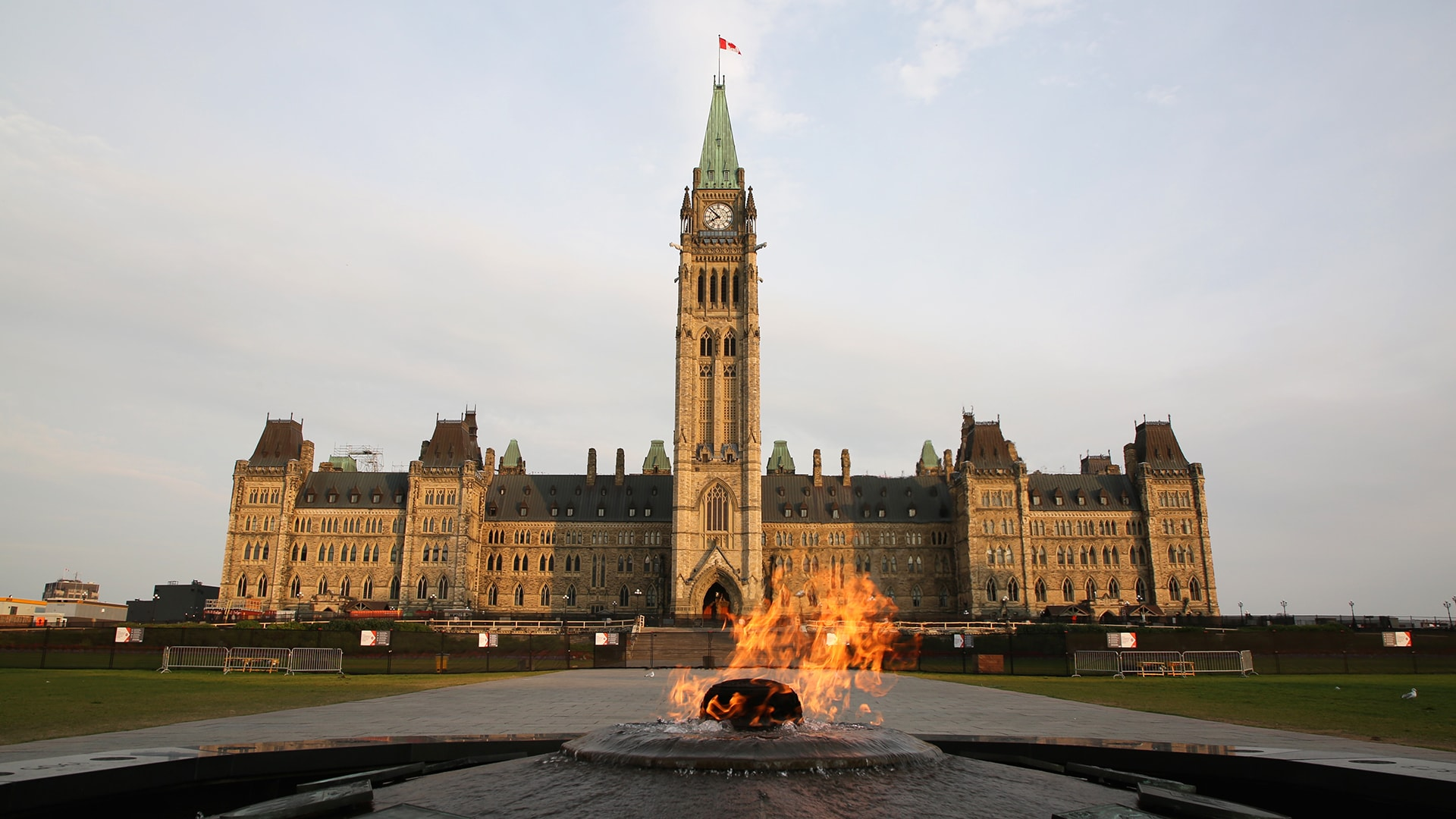 The Centennial Flame, which commemorates Canada's 100th anniversary as a Confederation, burns in front of the Centre Block building in Ottawa.