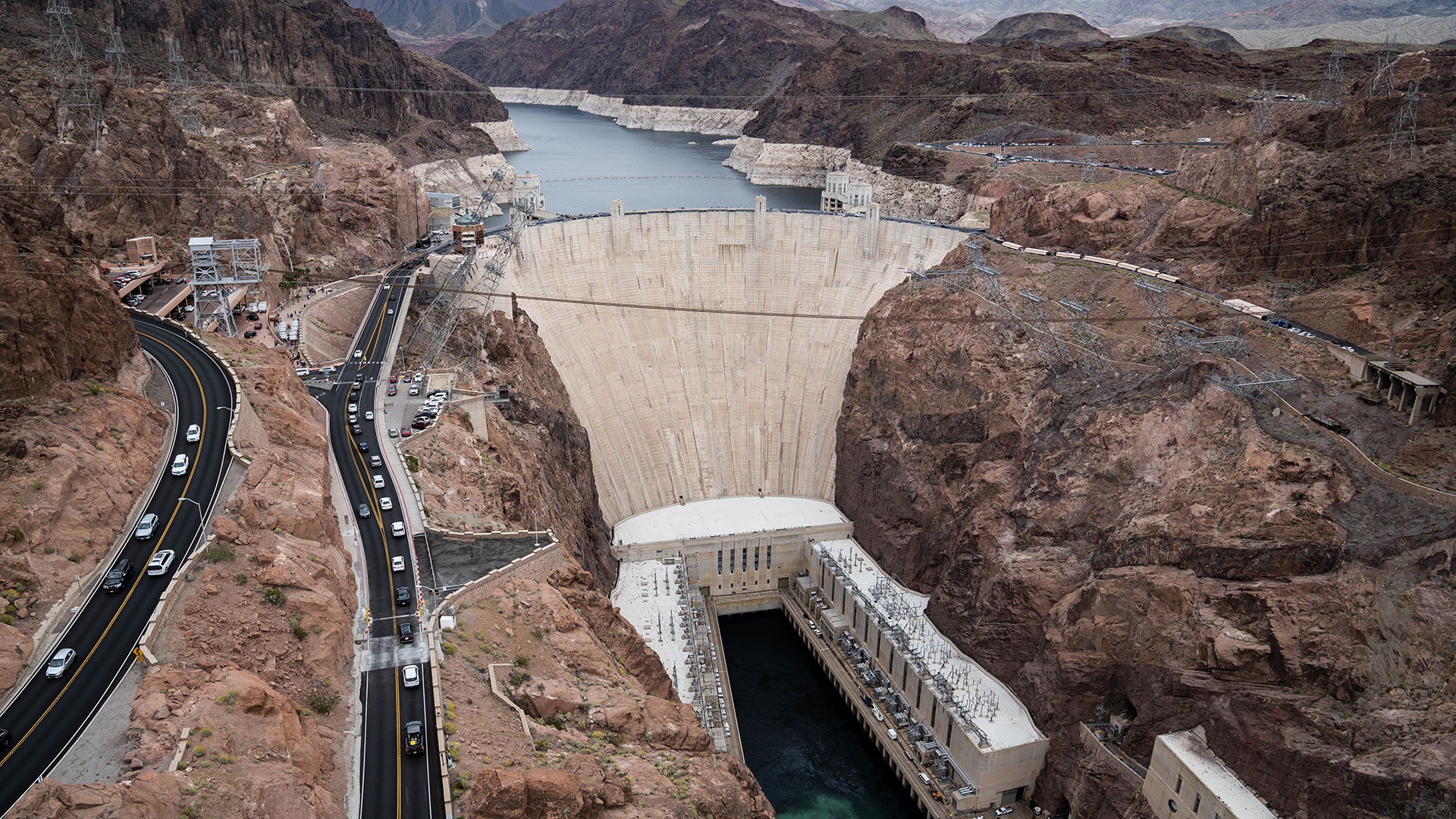 Hoover Dam forms Lake Mead.