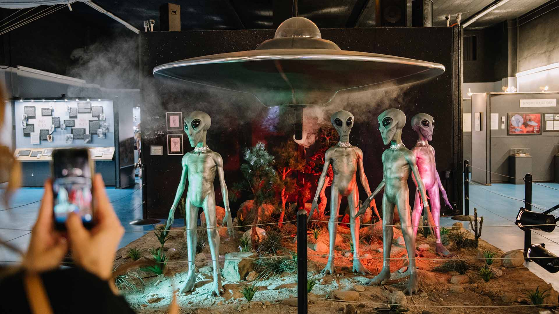 Animatronic aliens are on display at the International UFO Museum in Roswell, New Mexico.