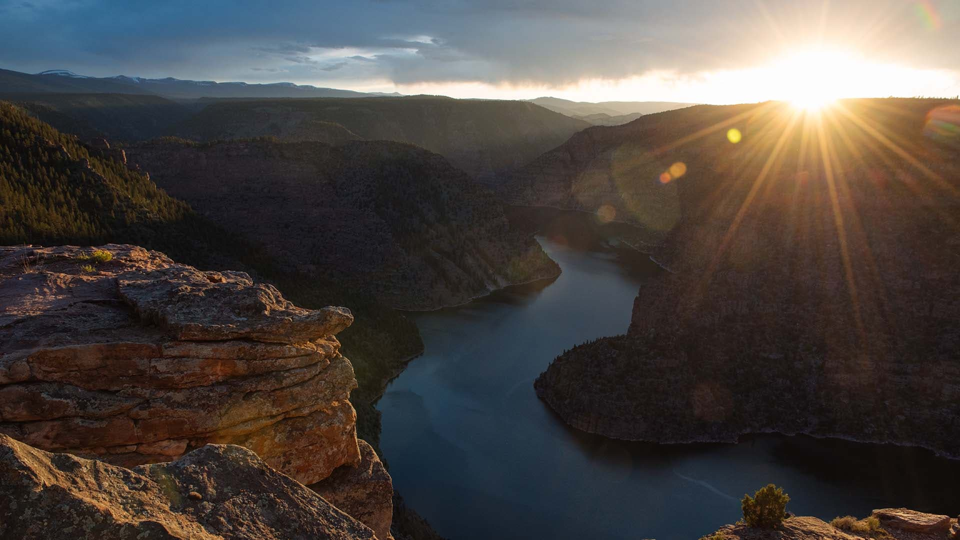 The sun sets on the Red Canyon Overlook, 1,700 feet above the Flaming Gorge Reservoir, near Dutch John, Utah.