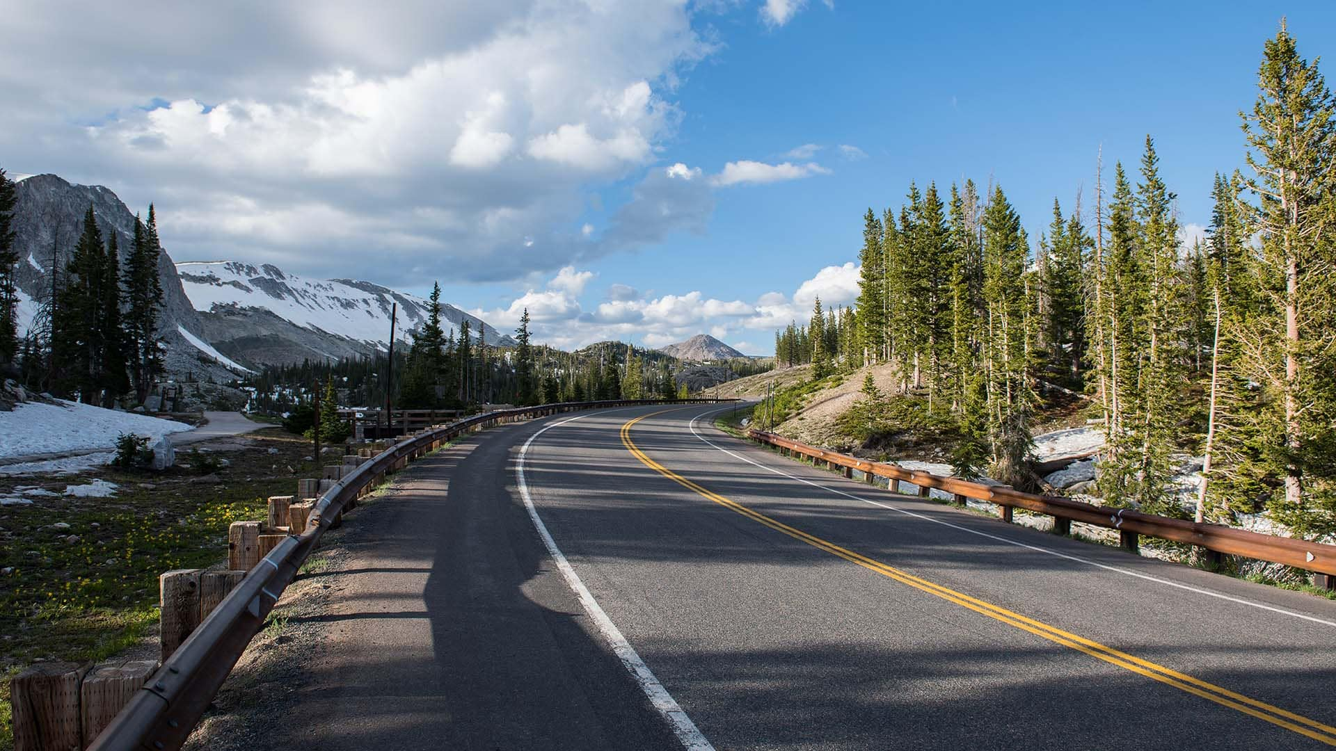 The 29-mile-long Snowy Range Scenic Byway takes drivers through dense forests and apline tundra.