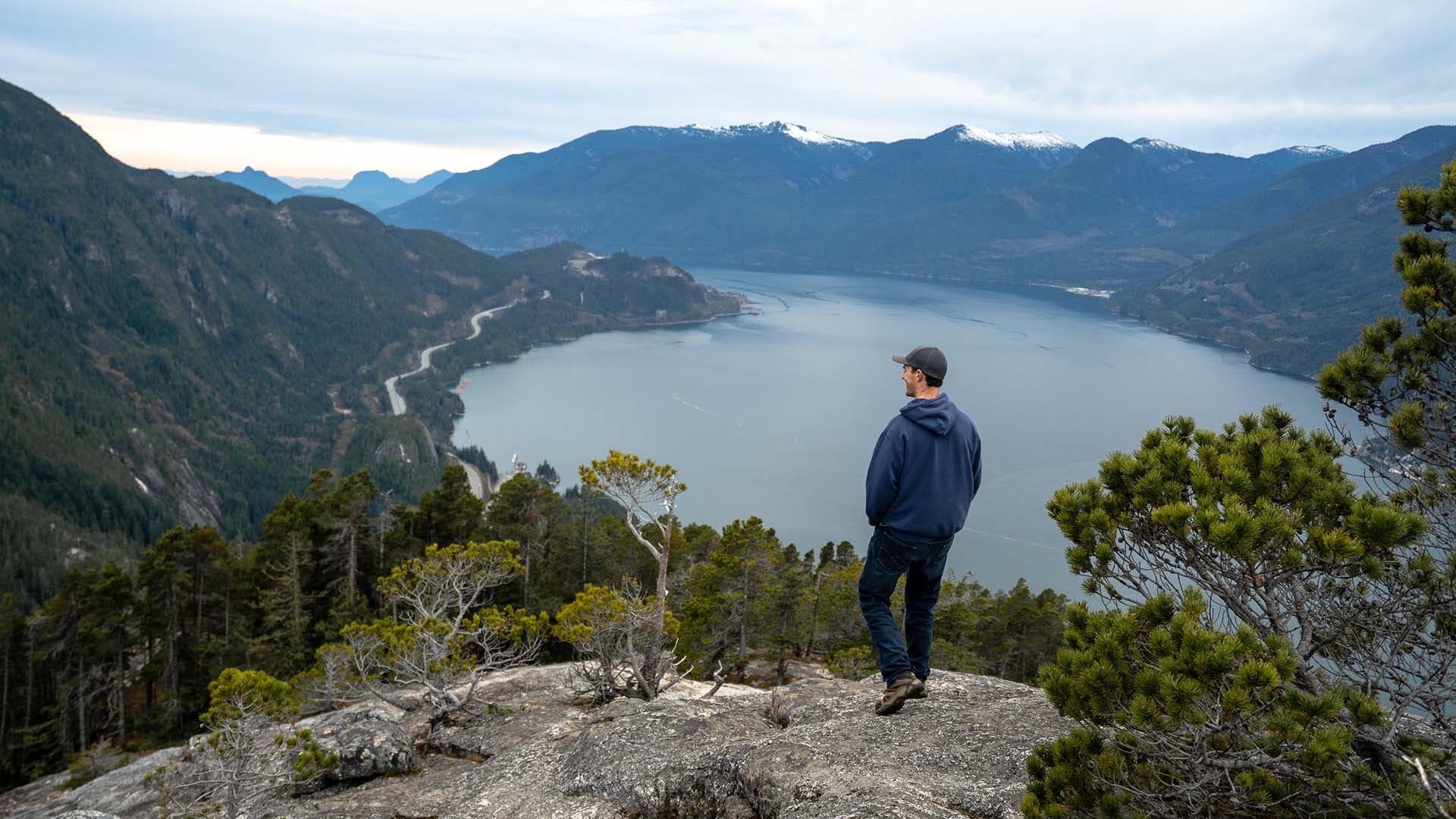Eamon admires the view from Stawamus Chief Mountain, a one-hour drive from Vancouver.