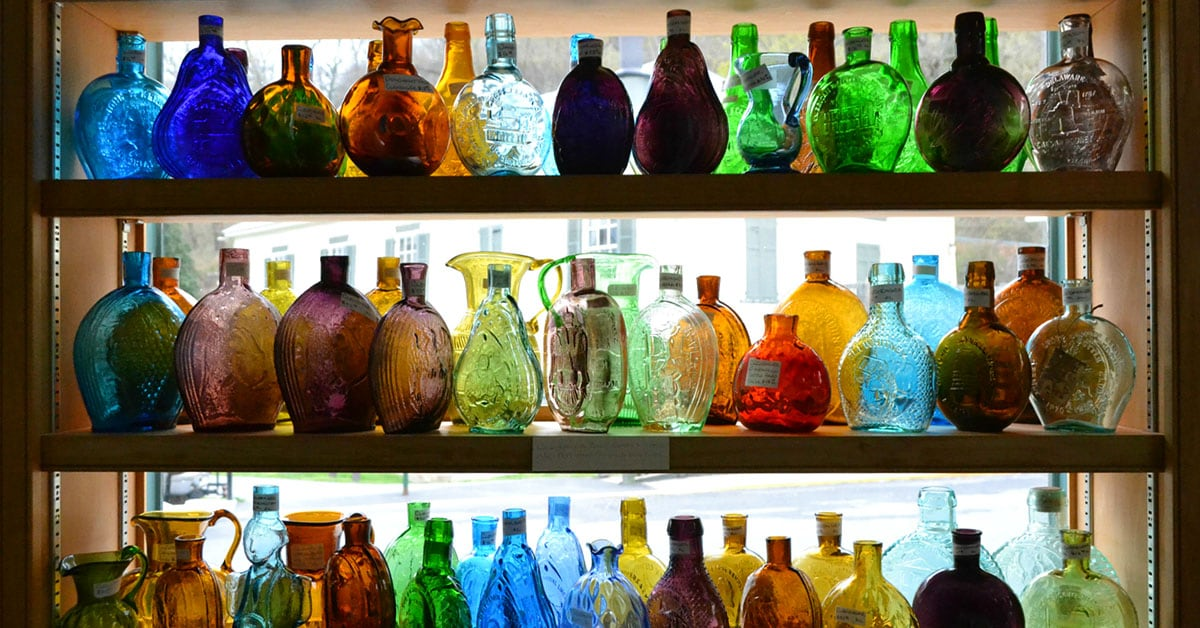 Glass bottles in the warehouse-sized Berkeley Springs Antique Mall.